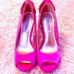 Hot Pink Open Toe Steve Madden Stilettos